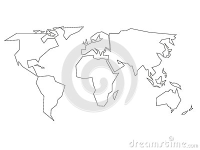 Simplified black outline of world map divided to six continents. Simple flat vector illustration on white background Vector Illustration