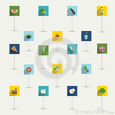 Free Simply Minimalistic Flat Food And Diet Symbol Icon Set. Stock Photos - 47152673