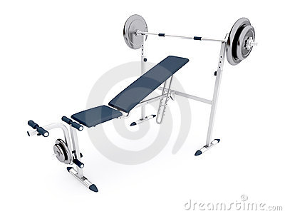 Simulator bench with a barbell