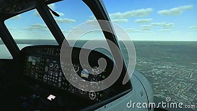 Simulator voor de opleiding van loodsen van de vliegtuigen Professionele vluchtsimulator stock footage