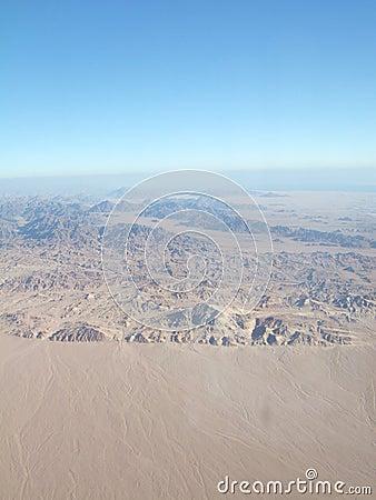 Sinai desert from plane