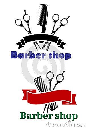 Barber Shop Plano : Sinais de Barber Shop com as bandeiras vazias da fita para o texto ...