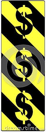 Sinais de dólar em um sinal de aviso do tráfego