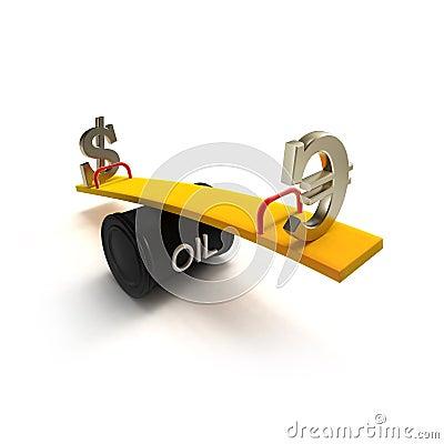 Sinais do euro e de dólar em um balanço do tambor de petróleo