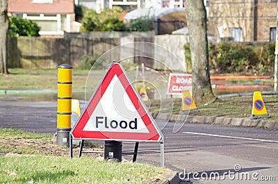 Sinal da inundação Foto Editorial