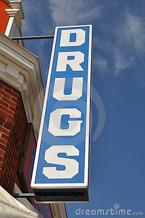 Sinal da loja de drogas do vintage