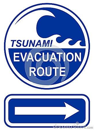 Sinal da rota da evacuação do tsunami