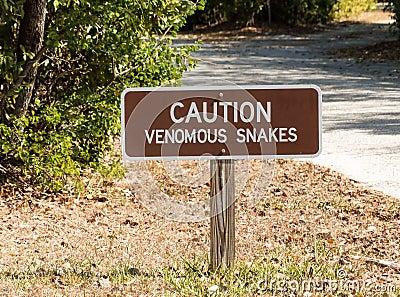 Sinal de aviso das serpentes peçonhentos do cuidado