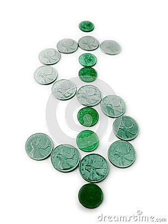 Sinal de dólar verde feito das moedas