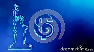 Sinal de d?lar e emblema da est?tua da liberdade Fundo da finan?a de part?culas luminosas anima??o do la?o 3D com profundidade ilustração stock