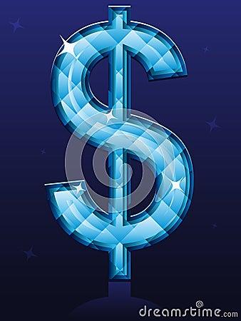 Sinal de dólar do diamante