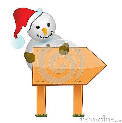 Sinal de madeira do boneco de neve
