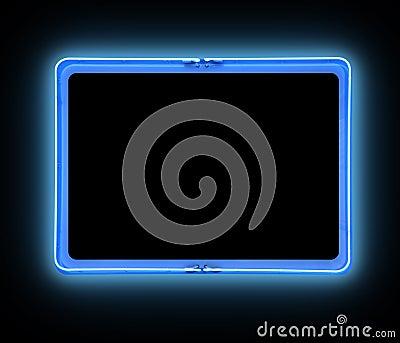 Sinal de néon da beira azul brilhante