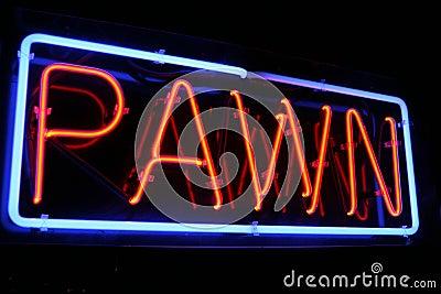 Sinal de néon vermelho e azul da loja de penhor