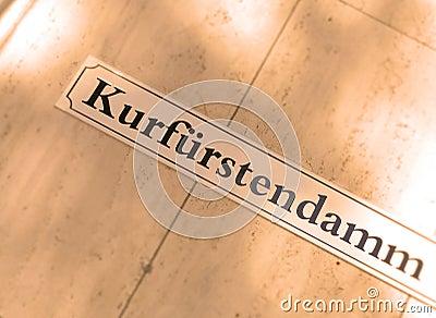 Sinal de rua de Kurfurstendamm