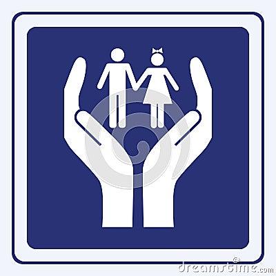 Sinal do cuidado das crianças