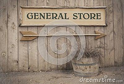 Sinal do vintage, loja geral