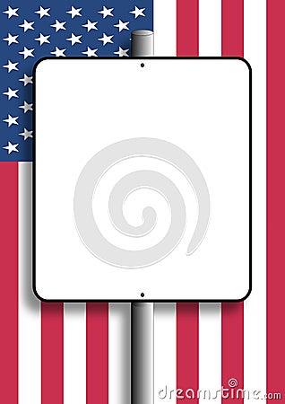 Sinal em branco da bandeira dos EUA