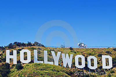 Sinal icónico de Hollywood de Los Angeles, Califórnia Foto de Stock Editorial