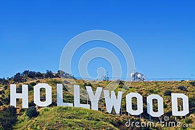Sinal icónico de Hollywood de Los Angeles, Califórnia Foto de Stock Editorial