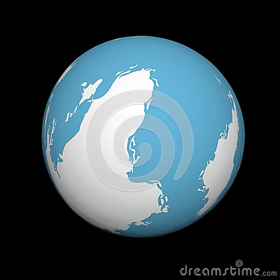 Sine-white mother Earth on a black background