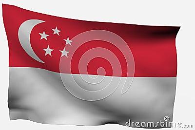 Singapore 3d flag