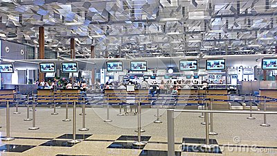 Singapore airline check-in counters Editorial Photo