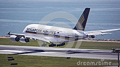 Singapore Airline A380 Editorial Stock Photo