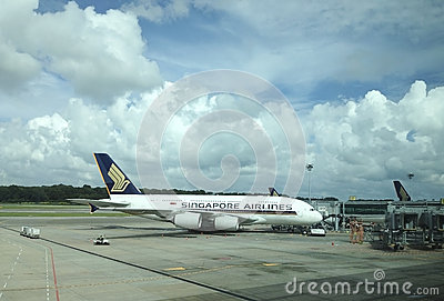 A Singapore Airlines Airbus A380 Editorial Stock Photo