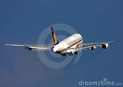 Singapore Airlines Airbus A380 in flight Editorial Stock Image