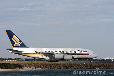 Singapore Airlines Airbus A380 on runway. Editorial Photography