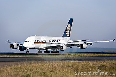 Singapore Airlines Airbus A380 on runway Editorial Stock Image
