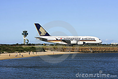 Singapore Airlines Airbus A380 on the runway. Editorial Photo