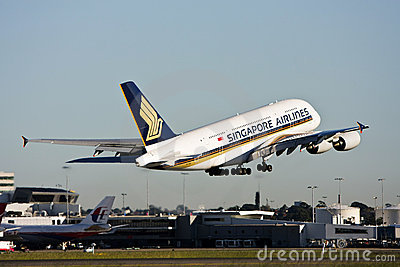 Singapore Airlines Airbus A380 taking off. Editorial Photo