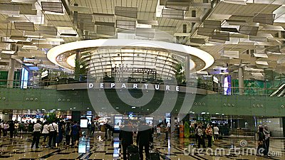 Singapore Airport Terminal 3 departure hall Editorial Photo