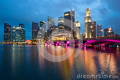 SINGAPORE - APRIL 23:The Singapore skyline shines at night. Si Editorial Photography