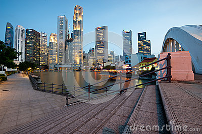 SINGAPORE - APRIL 25: The Singapore skyline shines at night as Editorial Stock Photo