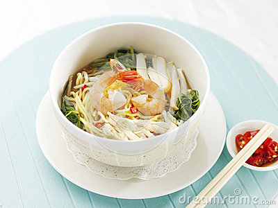 Singapore asian style prawn noodle