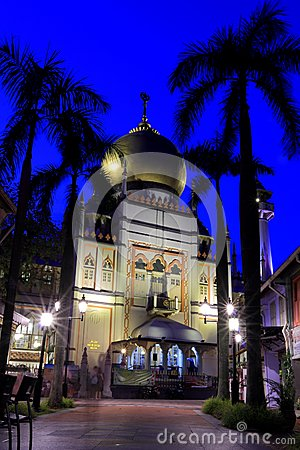 Singapore:Blue hour shot of Masjid Sultan Singapura Mosque Editorial Photo