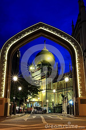 Singapore:Blue hour shot of Masjid Sultan Singapura Mosque Editorial Stock Photo