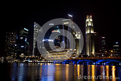 Singapore business district cityscape Editorial Image