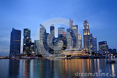Singapore Business District skyline and river Editorial Stock Photo