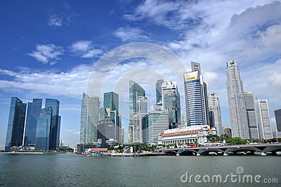 Singapore Business District skyline and river Editorial Image