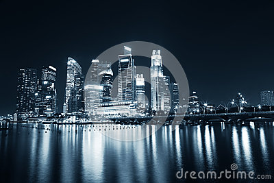 Singapore Business Skyline in blue tint