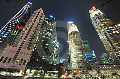 Singapore CBD at Night Editorial Stock Image