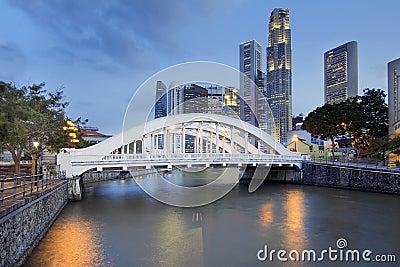 Singapore Skyline by Elgin Bridge Along River
