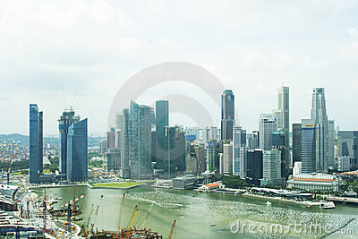Singapore central  business district skyline Editorial Photo