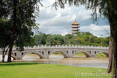 Singapore: Chinese Garden  Bridge and Pagoda