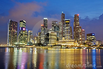 Singapore City Picture on Stock Image  Singapore City Evening Skyline  Image  11342171