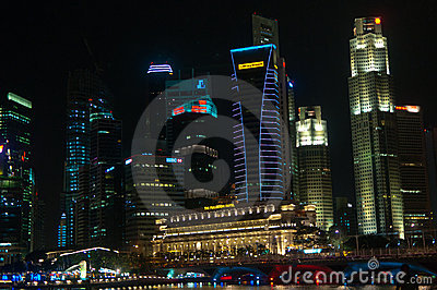 Singapore City by night Editorial Photo